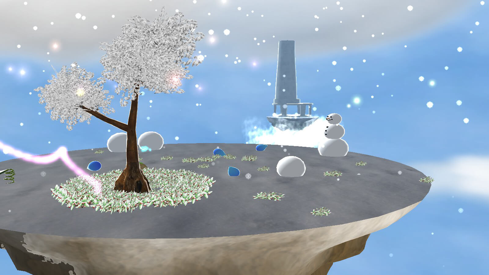 A floating island covered in snow, with a tree and a snowman.