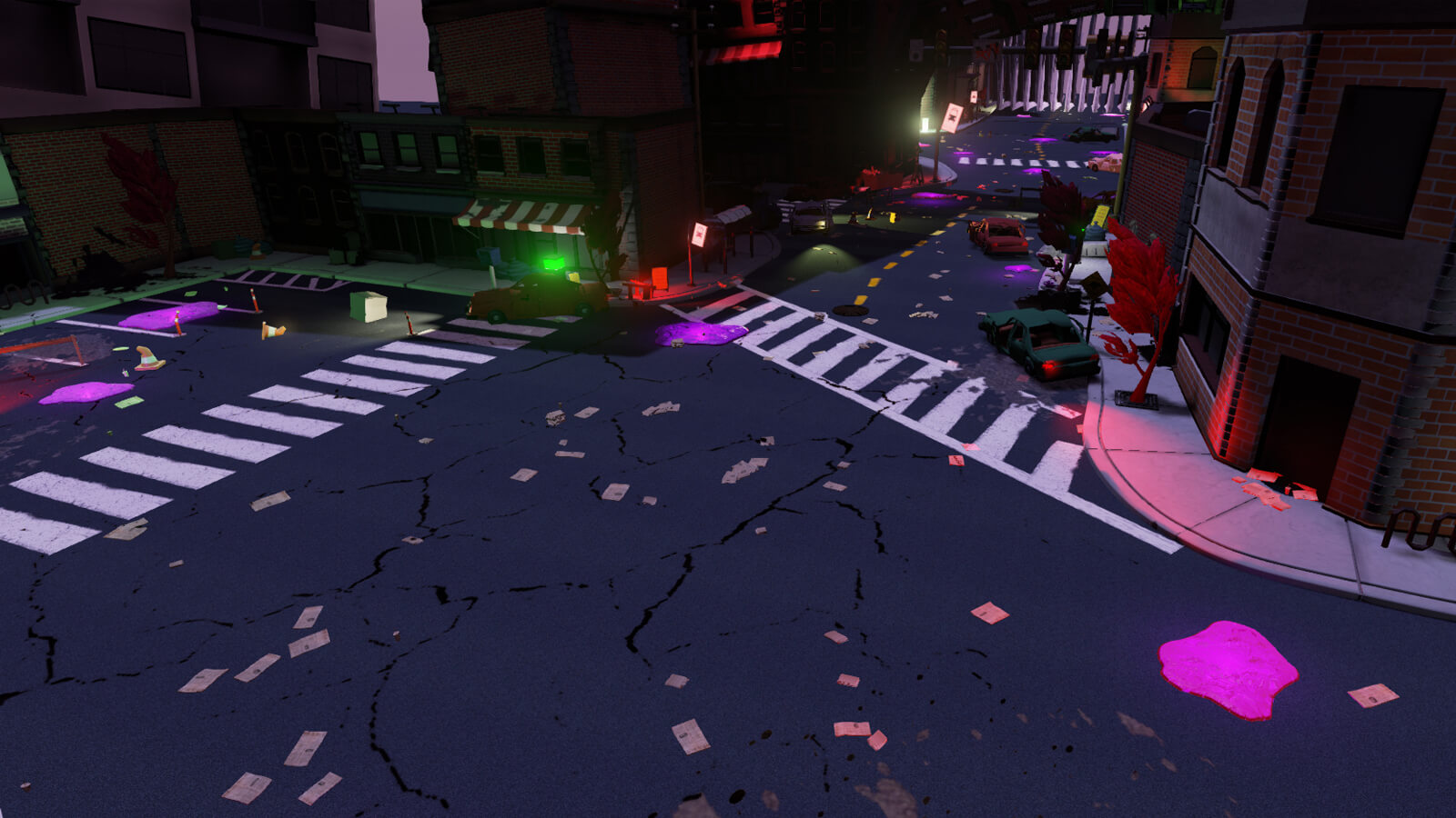 A cracked street covered in detritus and wrecked cars.