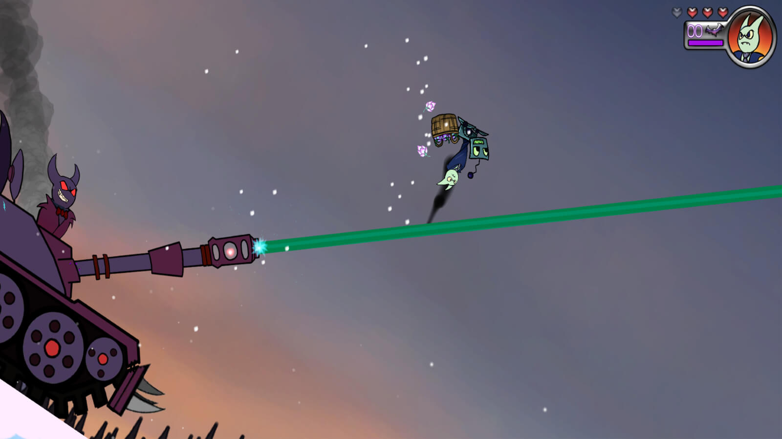 A villain in a tank shoots a green beam at Private Battede, who is flipping mid-air atop a robot.