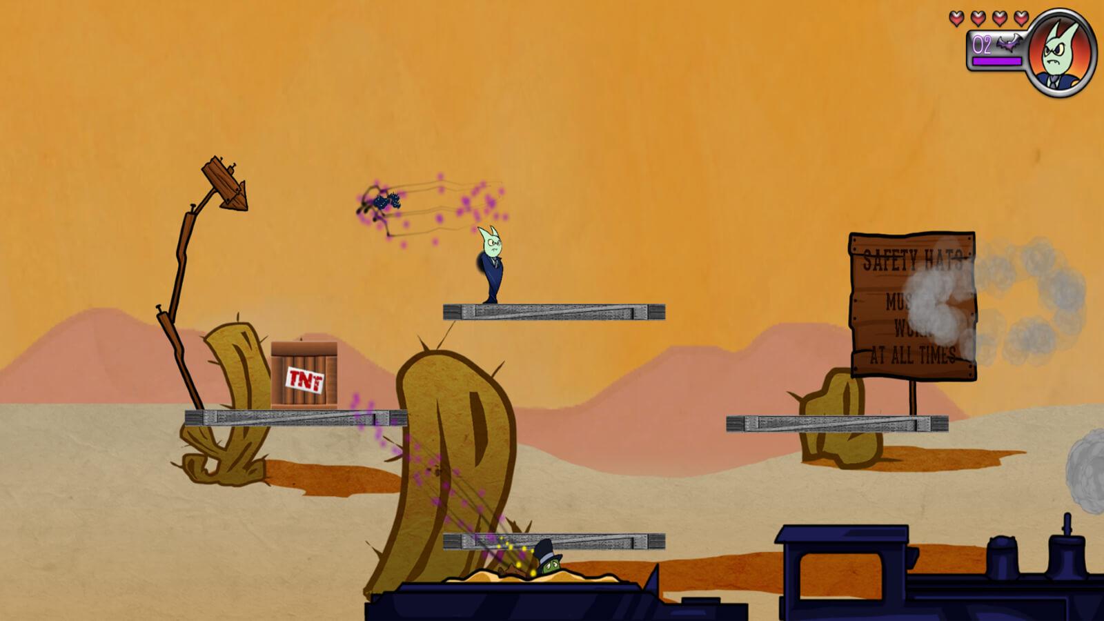 Private Battede stands on a platform in a desert landscape.