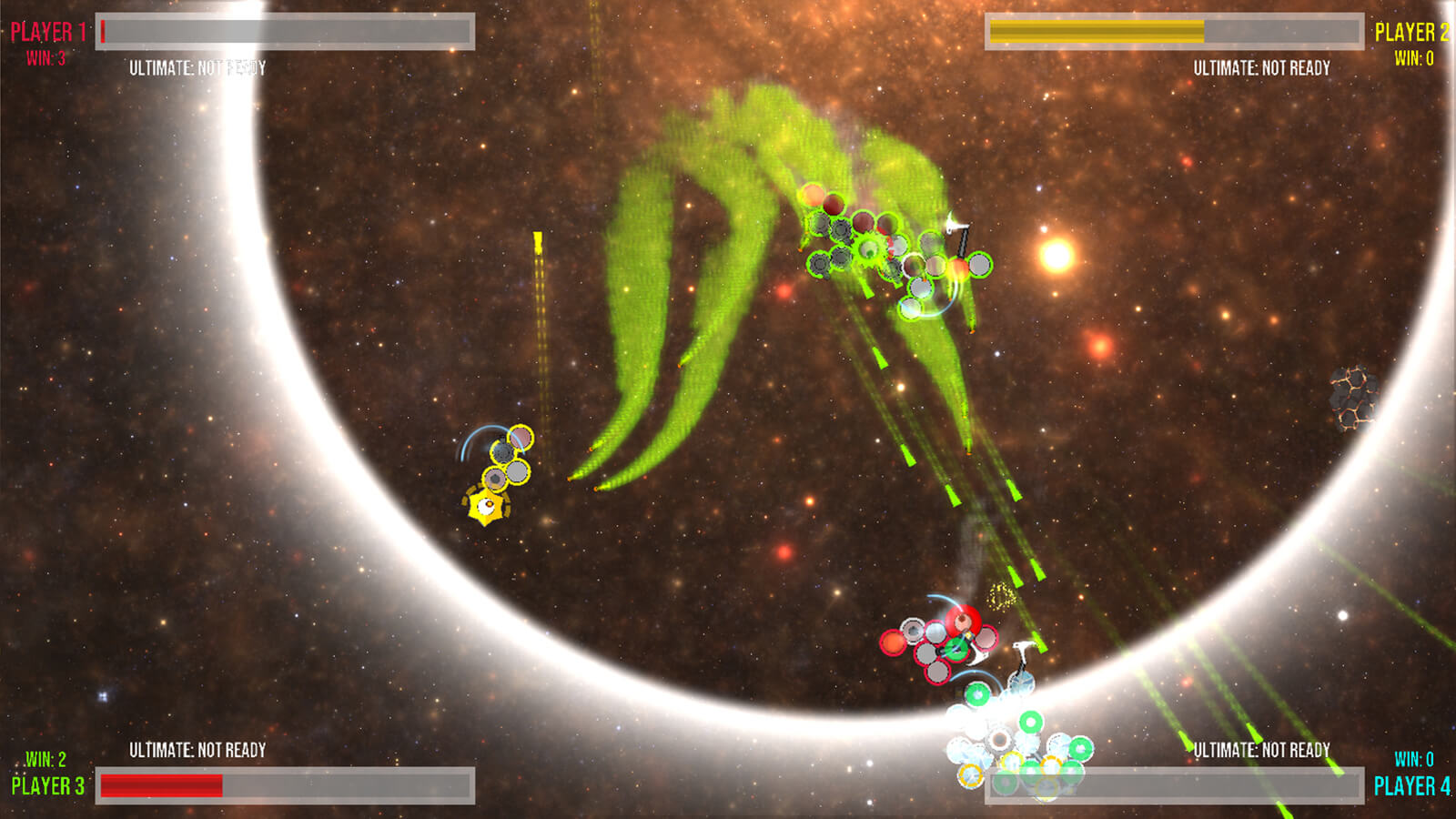 "A group of ""I"" creatures battle each other in space with noxious green spray guns."