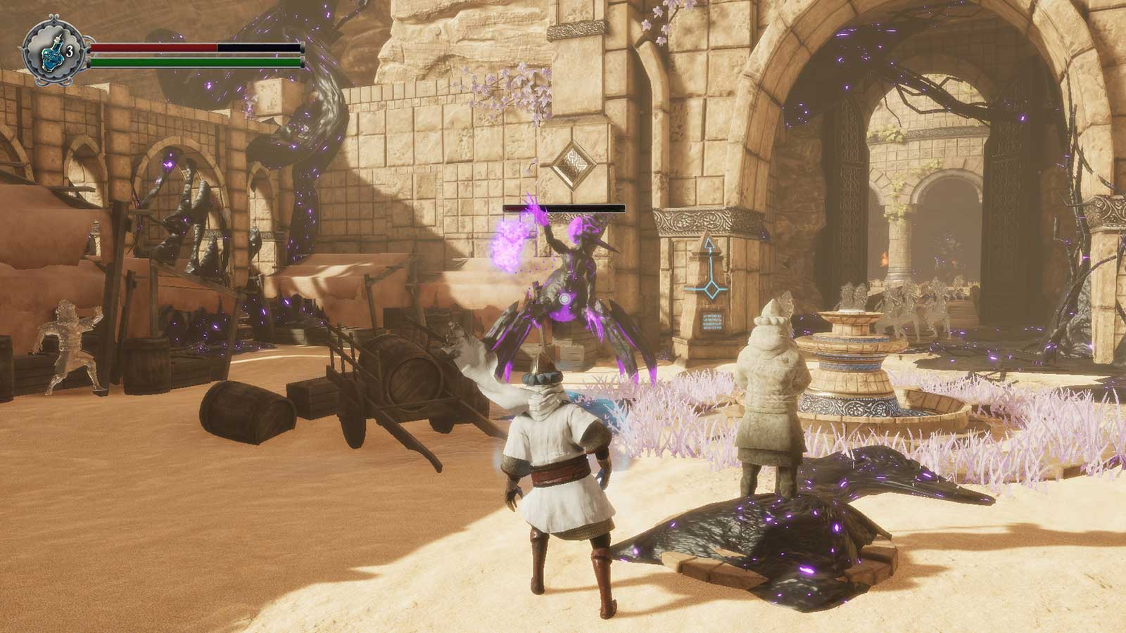 Warrior battles a giant scorpion monster in a sandy plaza