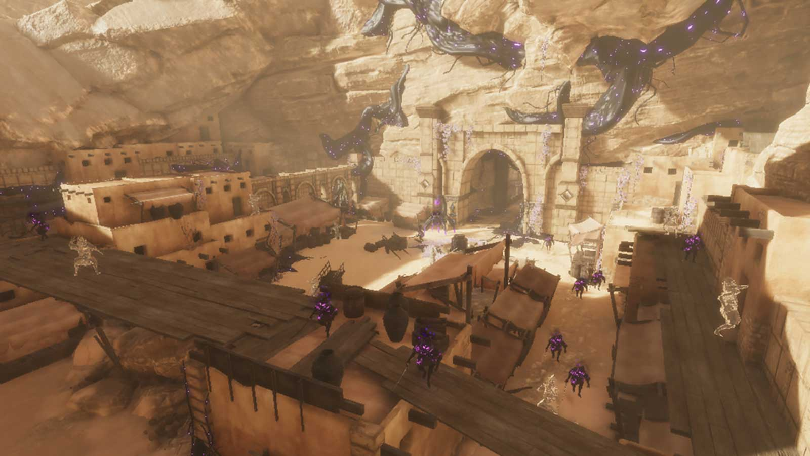 Overhead view of a desert marketplace filled with enemies