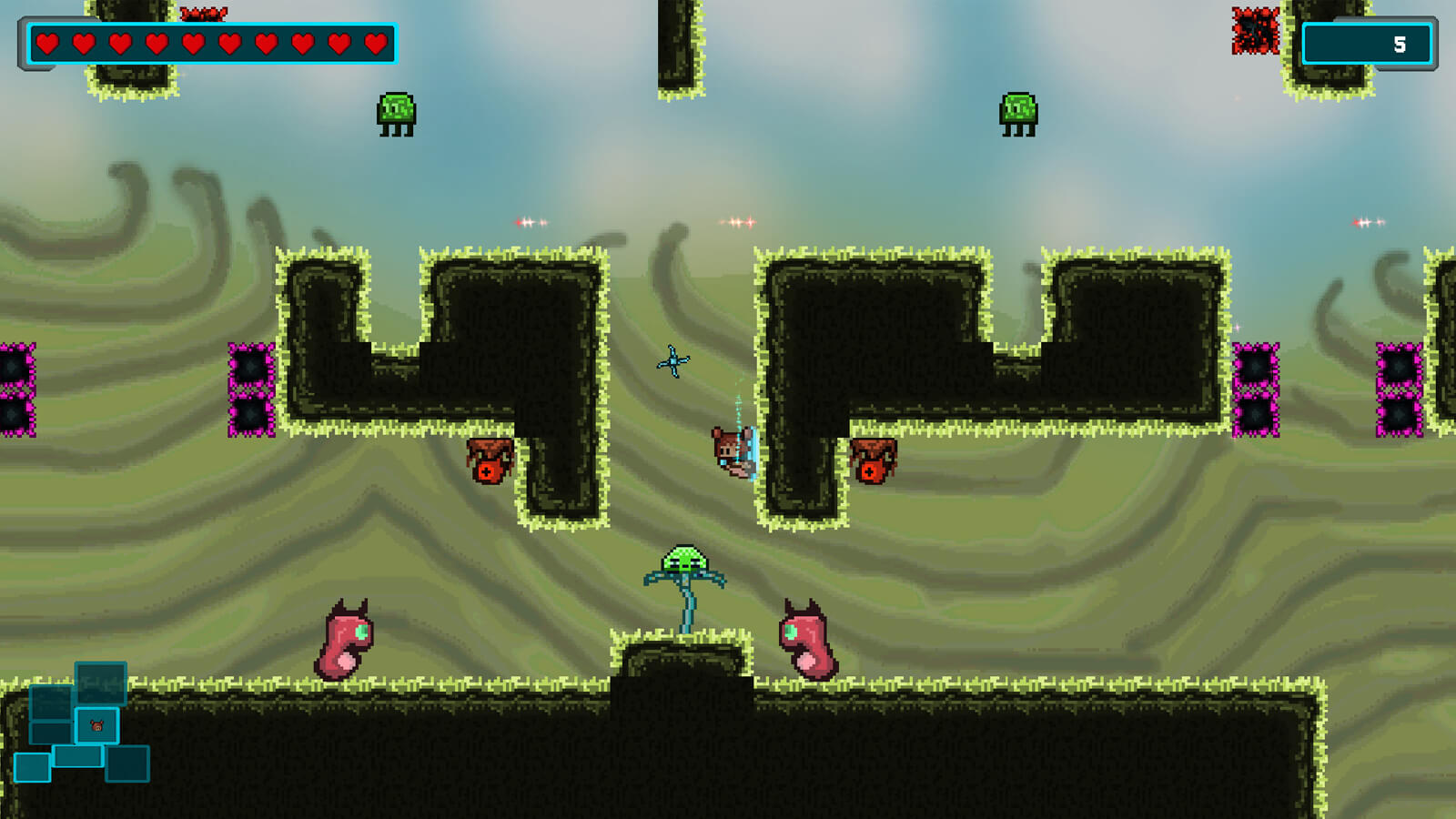 Mika wall jumps over a green plant-like creature as enemies surround her.