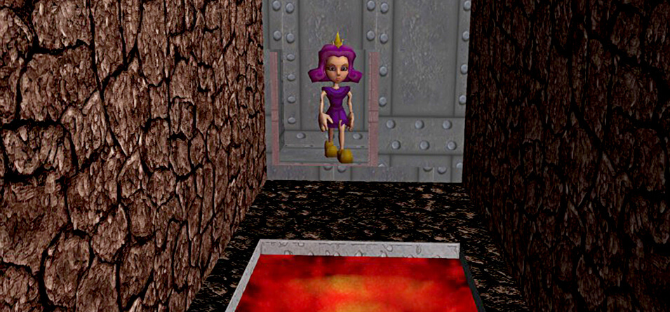 Princess No-Knees walks through a metal door and approaches a lava pit.