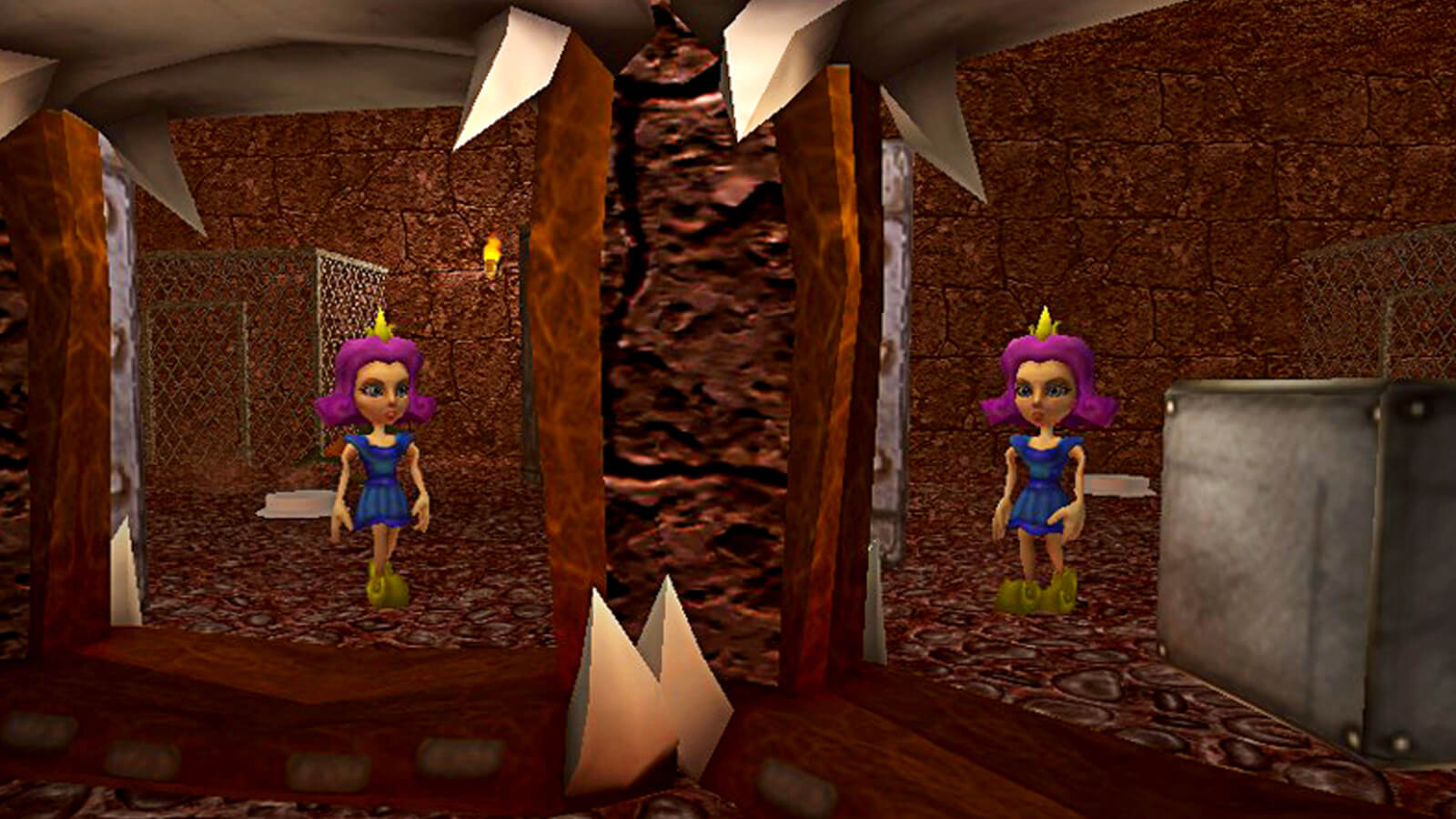 Princess No-Knees stands in front of a dungeon portal and sees a duplicate of herself.
