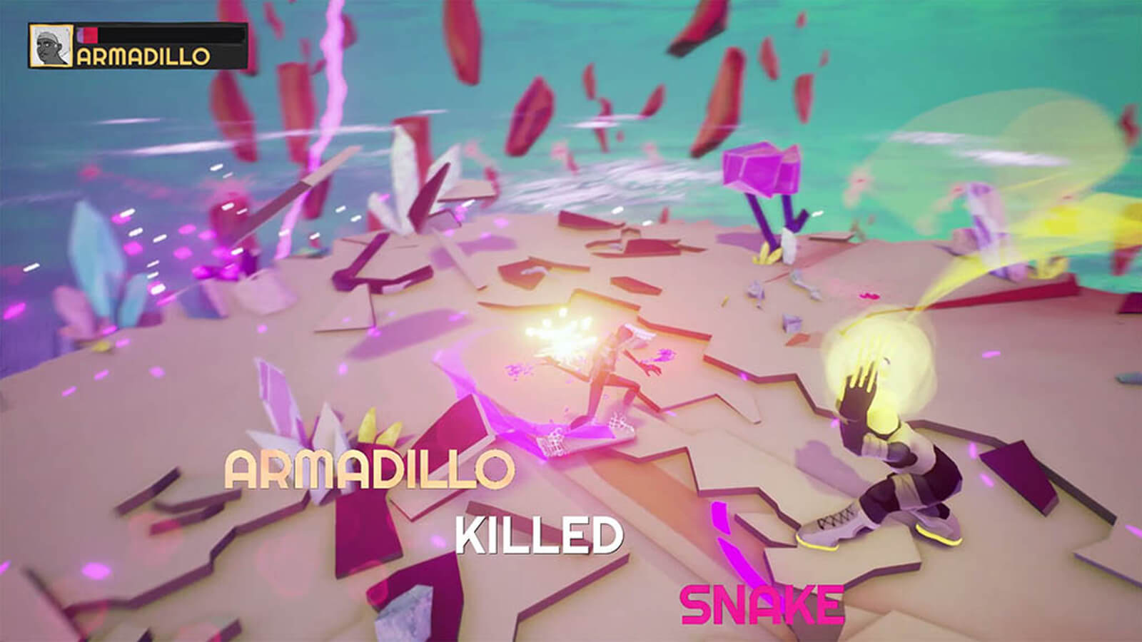 "Two players battle each other, the words ""Armadillo killed snake"" in the foreground."
