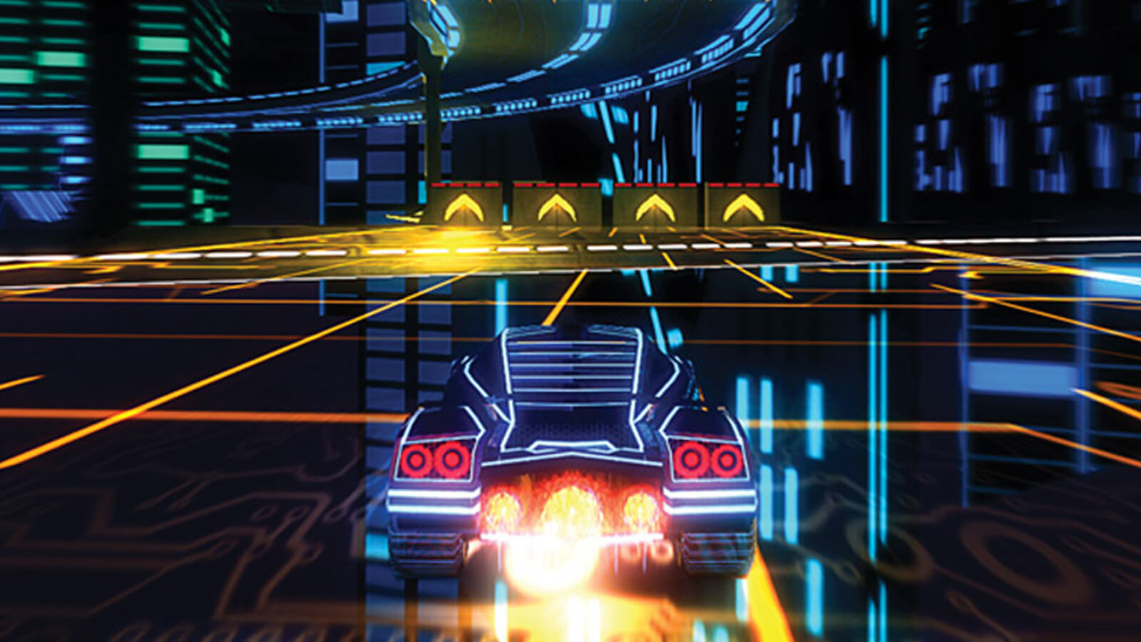 A glowing car with jet-boosters races through a futuristic roadway.