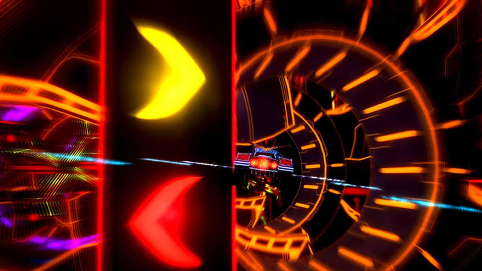 A car speeds through a massive neon-lit tunnel.
