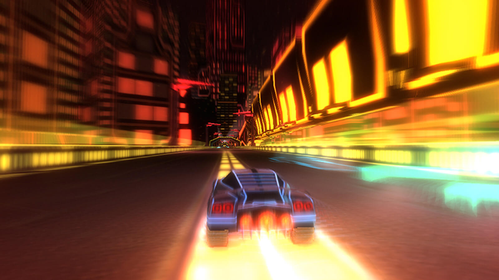 A car speeds through a glowing, futuristic cityscape.