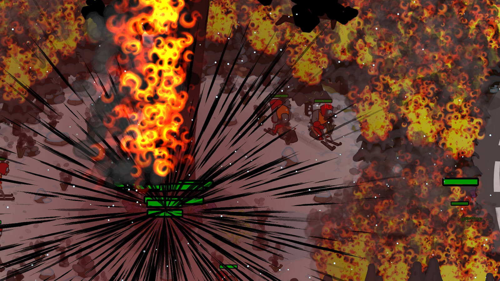 An enormous fiery explosion erupts from the base of a tree.