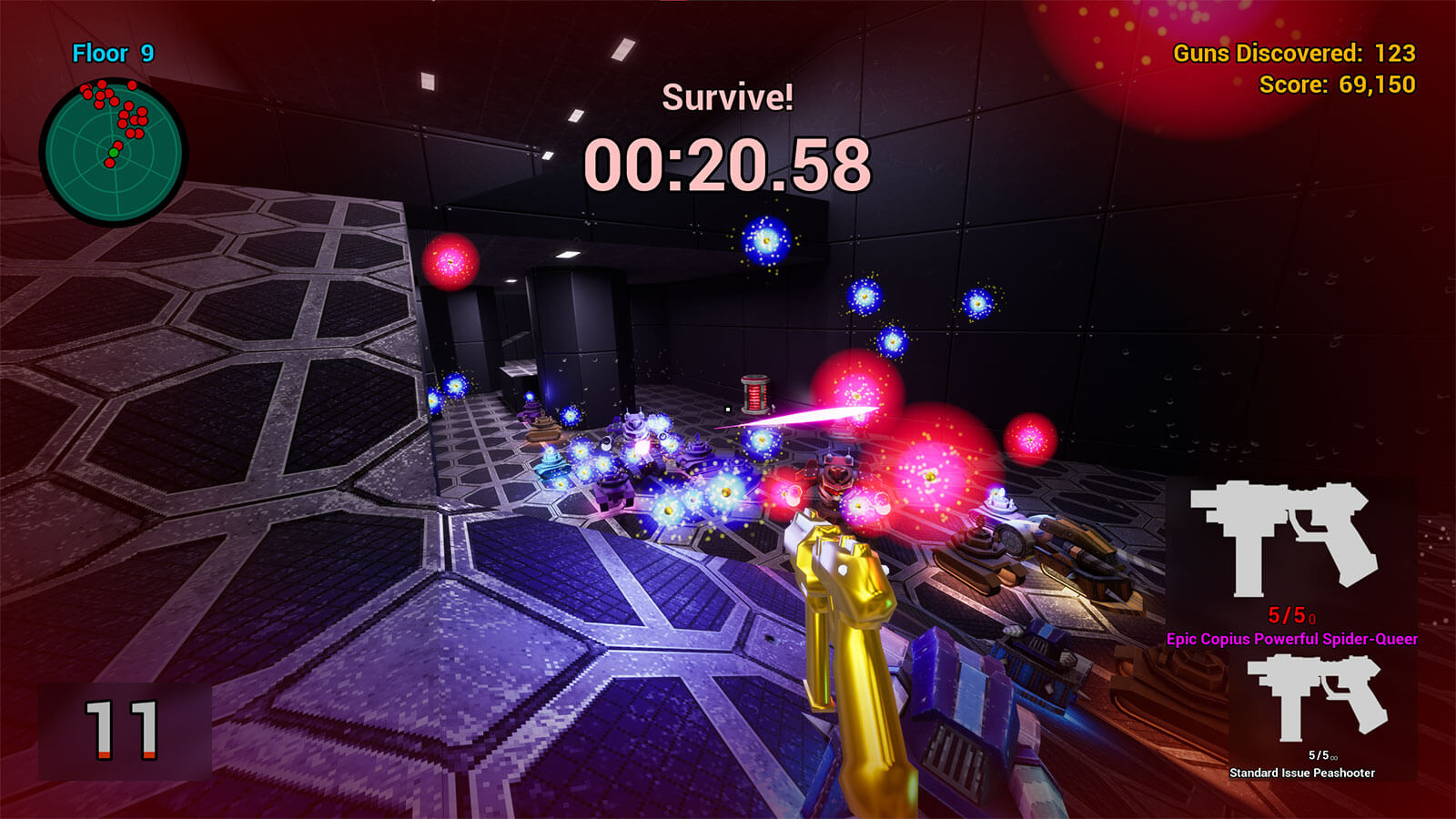 Enemy robots fire projectiles at the player