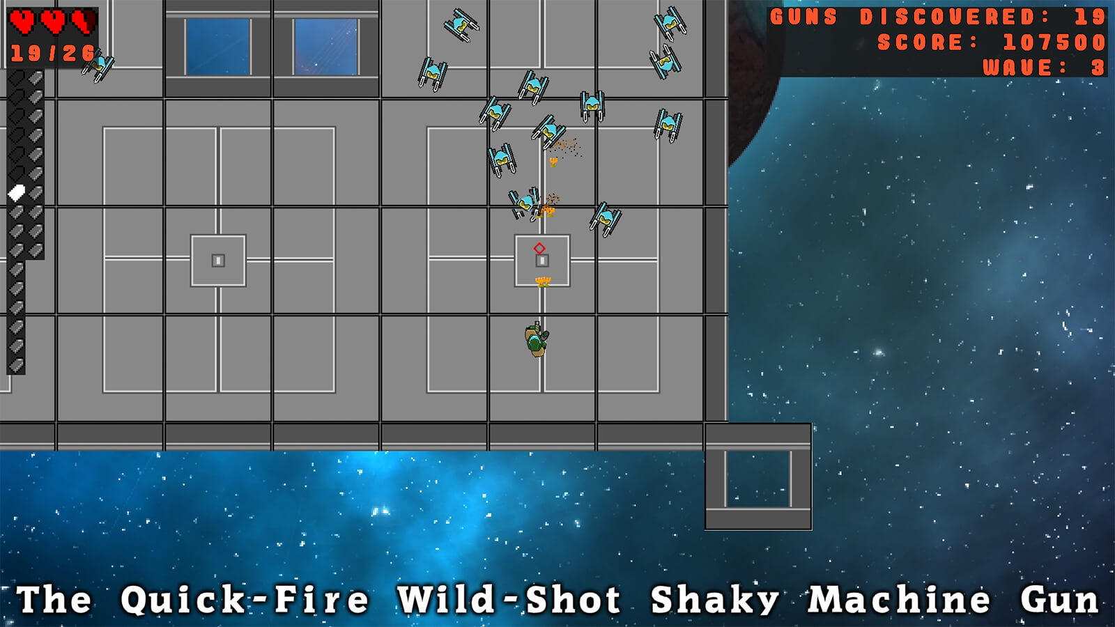 A wave of robots attacks the player, who is wielding The Quick-Fire Wild-Shot Shaky Machine Gun.