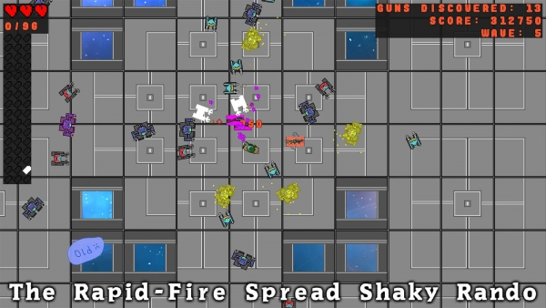 """Waves of robots attack the player, who is wielding """"The Rapid-Fire Spread Shaky Rando."""""""