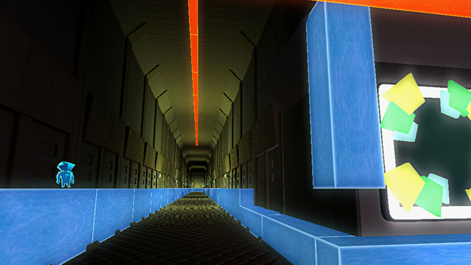 The player's avatar stands atop blue blocks running the length of a long metallic hallway