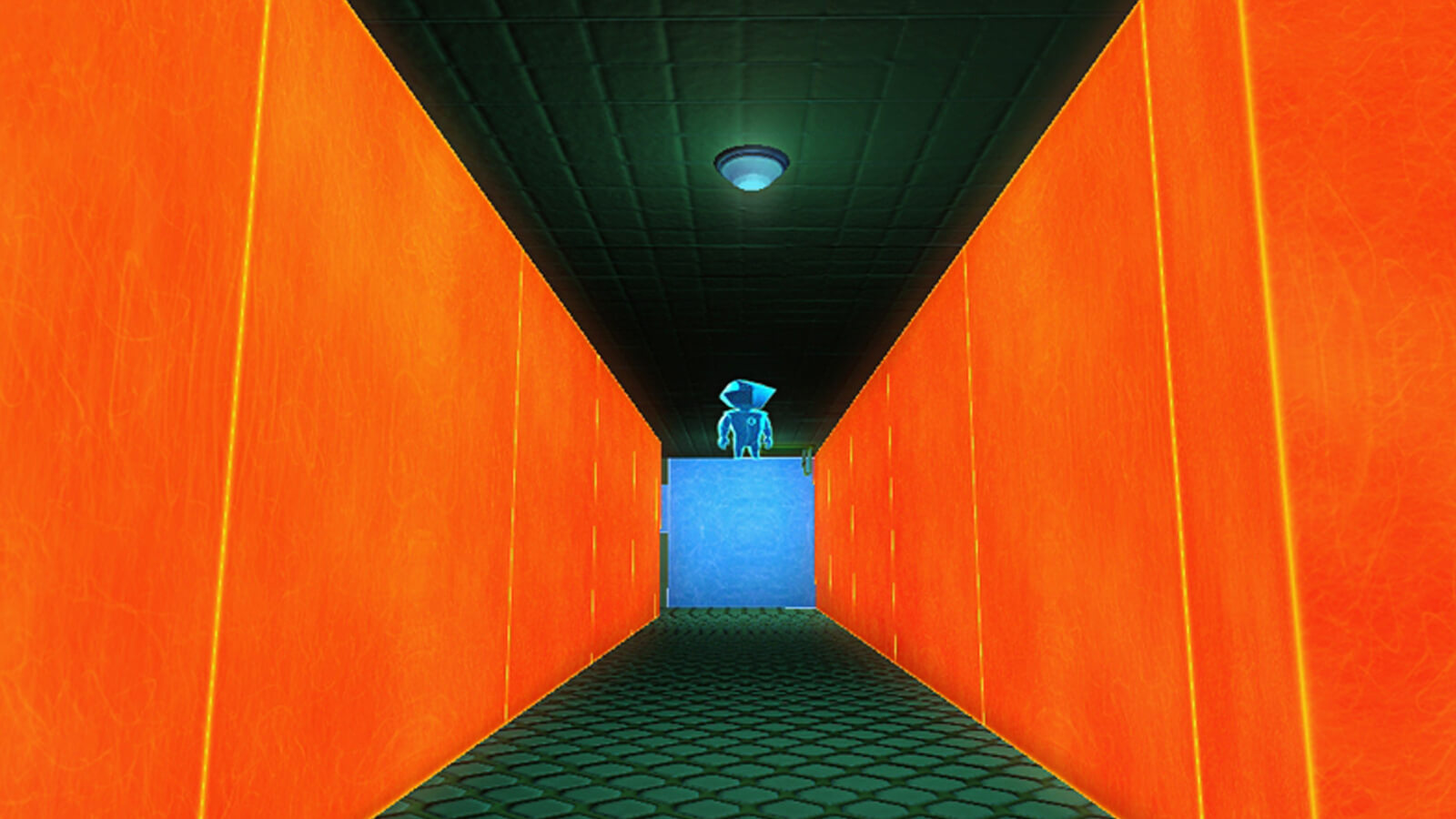 The player's blue avatar stands atop a blue block surrounded by orange walls