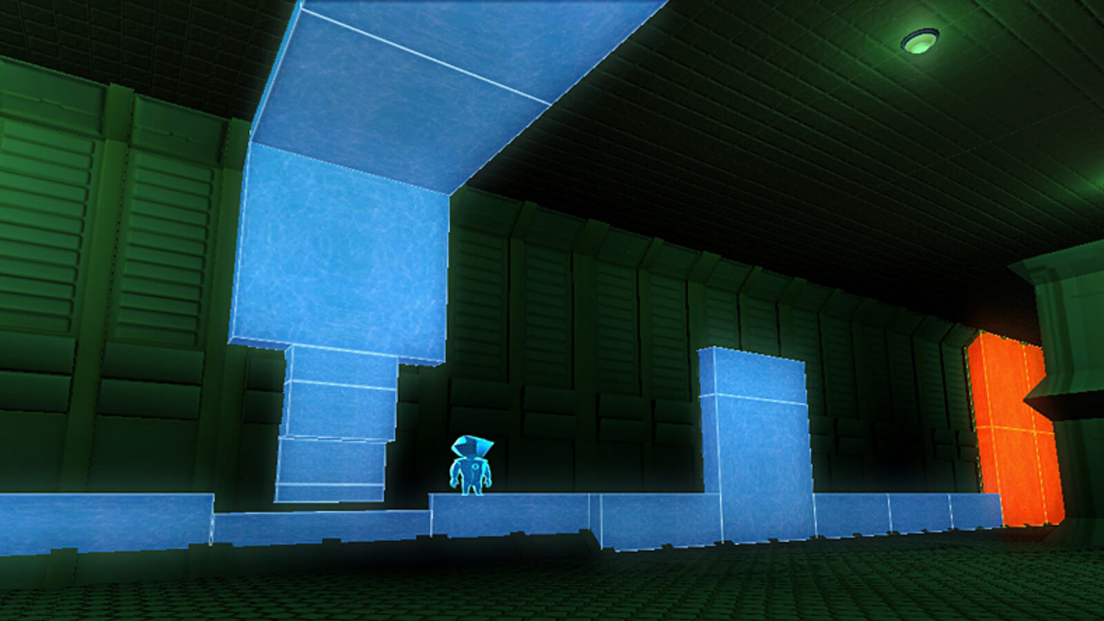 The player's avatar stands on blue blocks in a green-tinted room