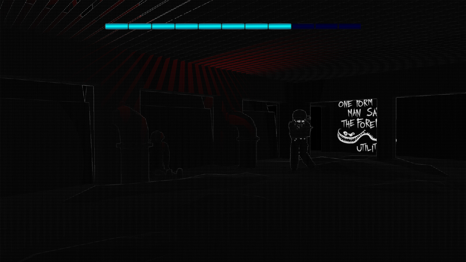A dark room with the sonar outline of a monster in the distance and writing on the wall.