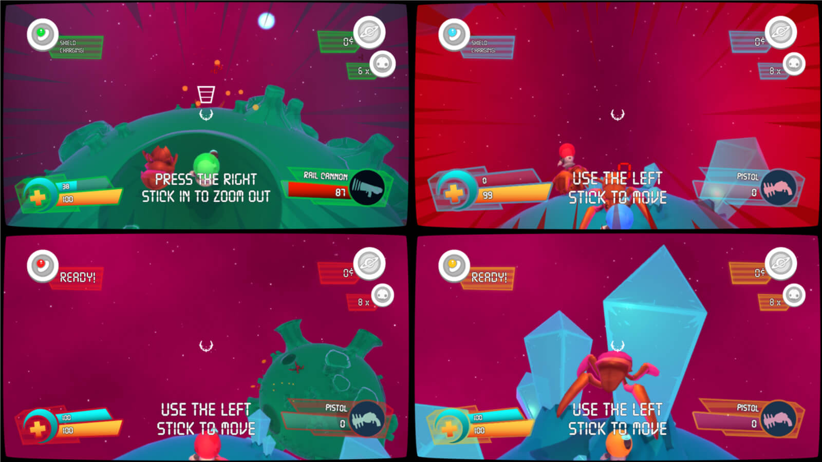 Four players compete in splitscreen multiplayer mode.
