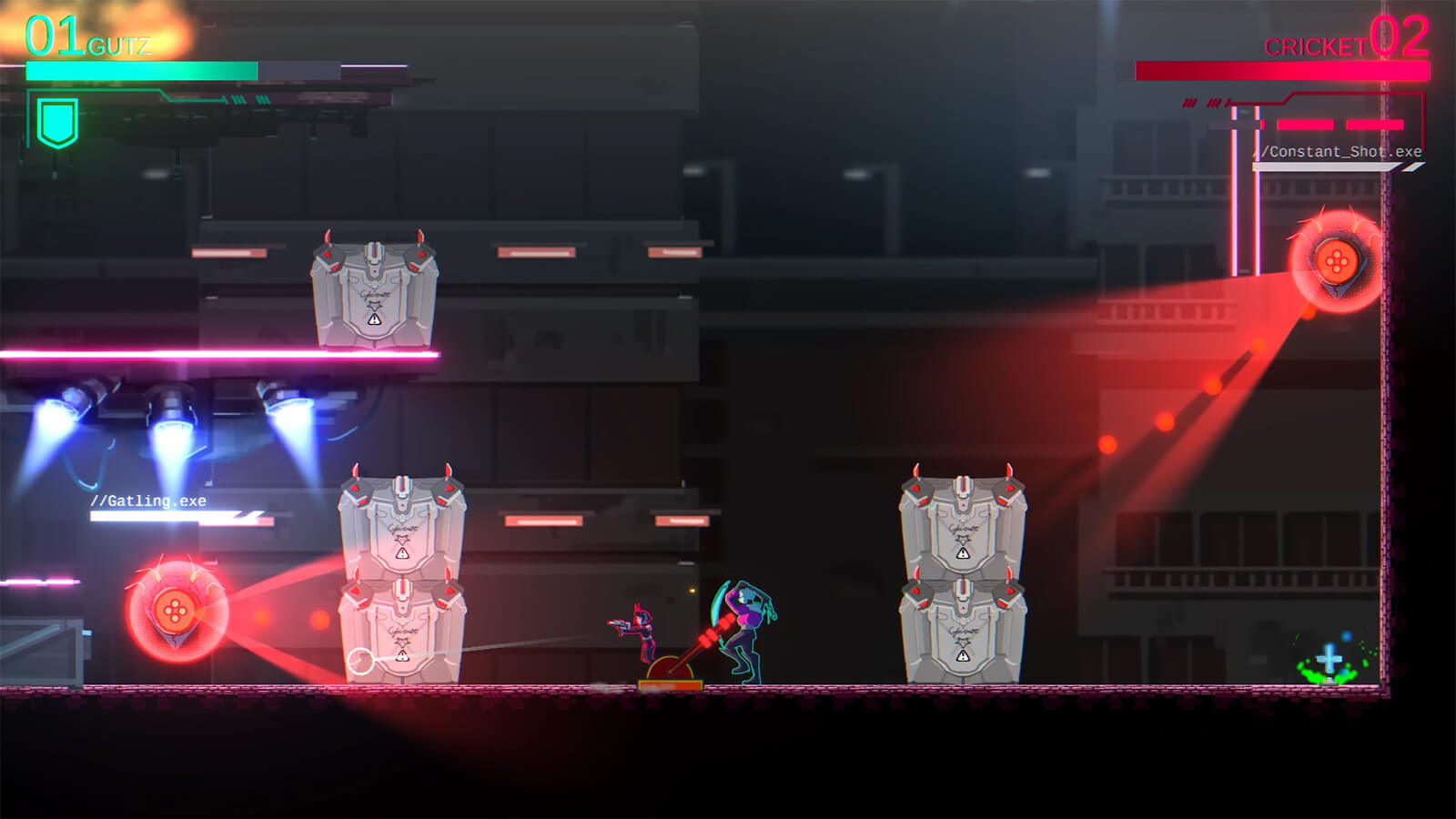 Two characters stand near a switch lever, surrounded by metal crates and pulse-firing enemy drones.