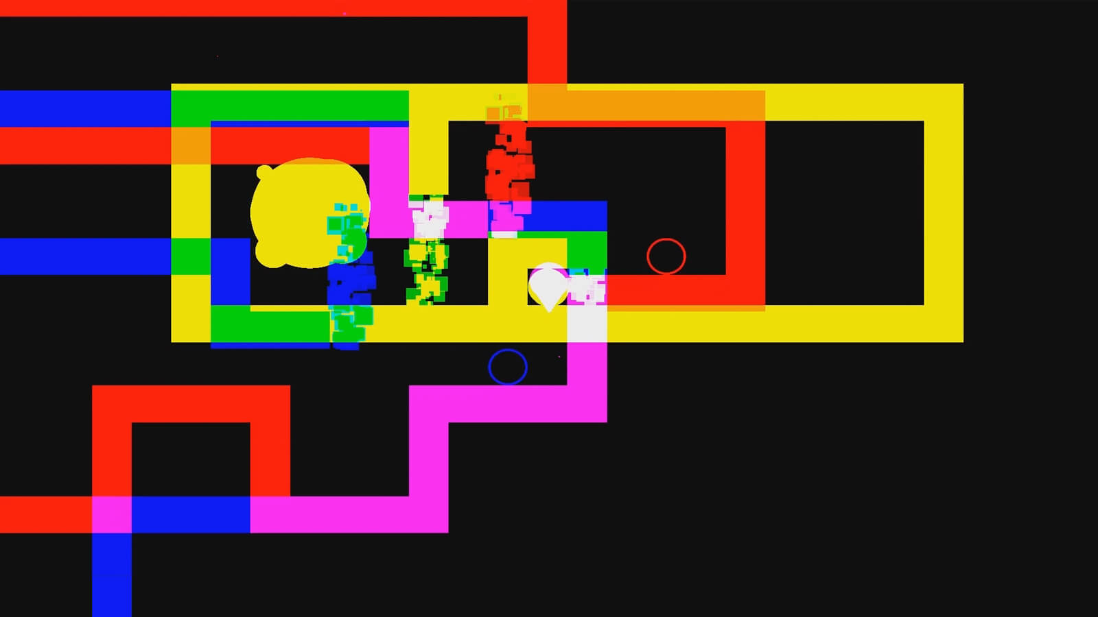 A yellow blob and three disintegrating figures within a multicolored box of varying colors.
