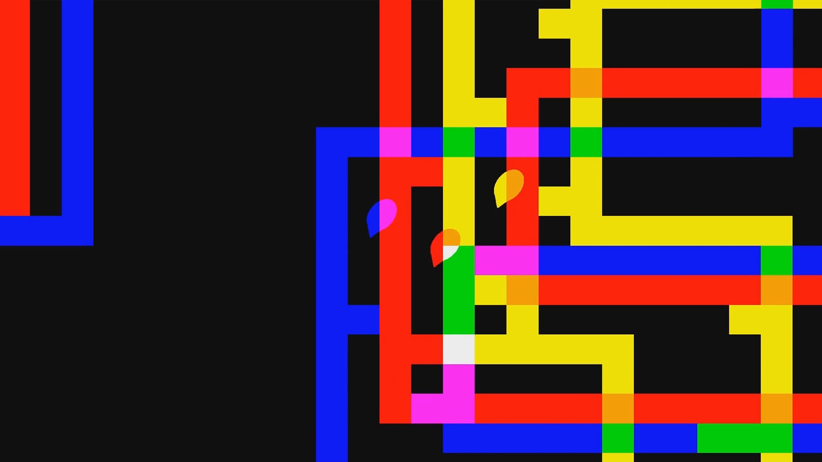 Three blobs jump through an array of multicolored intersecting walls.