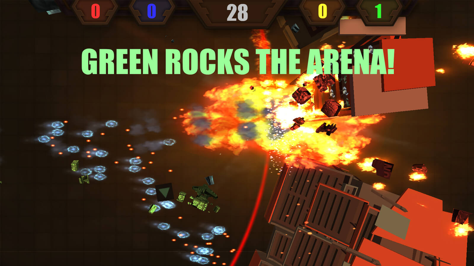 "An explosion blows bits of vehicle parts in the air with the words ""GREEN ROCKS THE ARENA"" on the screen."
