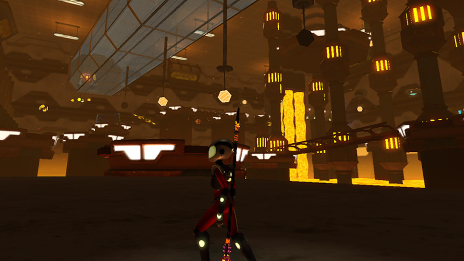 Sam Ward wanders through a room full of furnaces and glowing, hot lava.