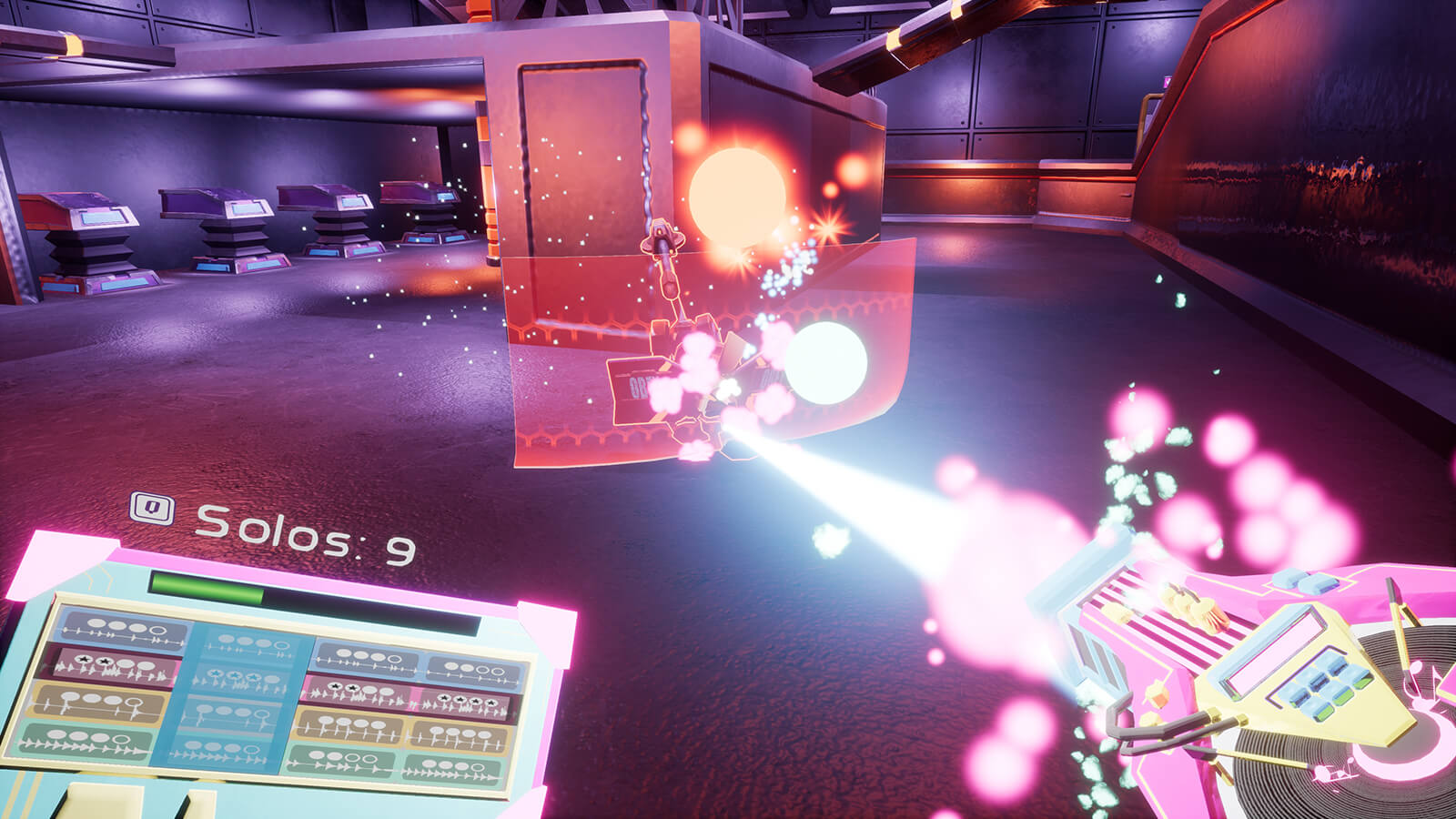 The player wields a pink turntable-like gun, blasting a white beam at a robotic enemy.