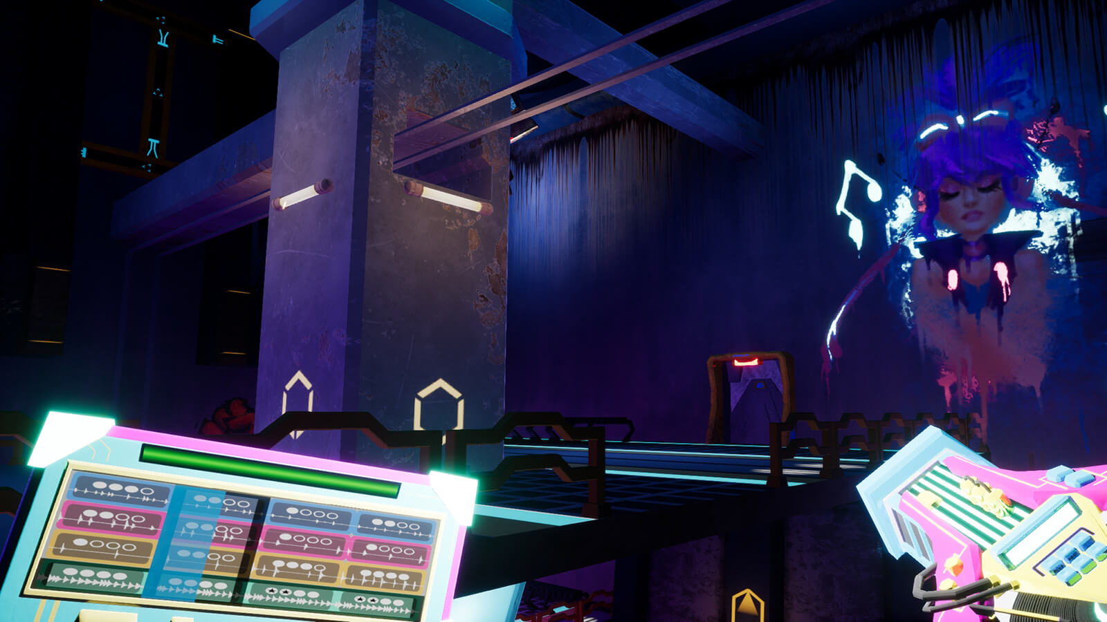 The player stands on a glowing platform facing colorful graffiti of a woman with purple hair and a music note.
