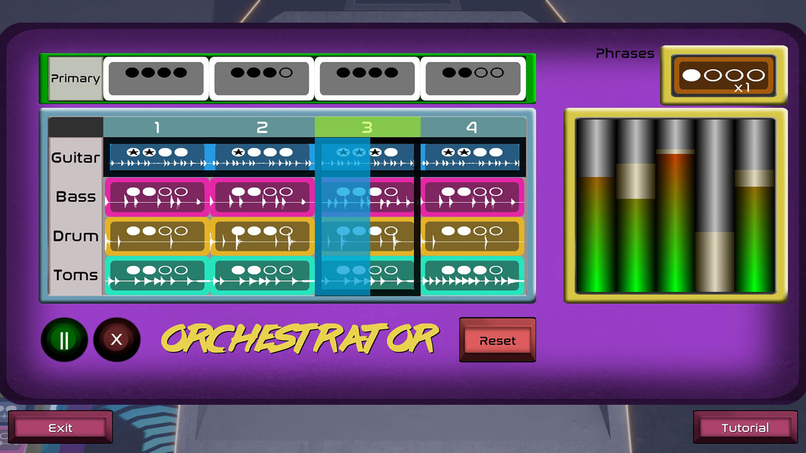 "A menu called the ""Orchestrator"" showing instrument based phrases the player can use to attack enemies."