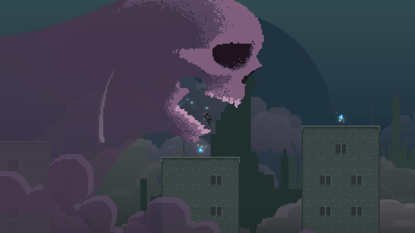 Polaris jumps from the maw of a giant purple skull.