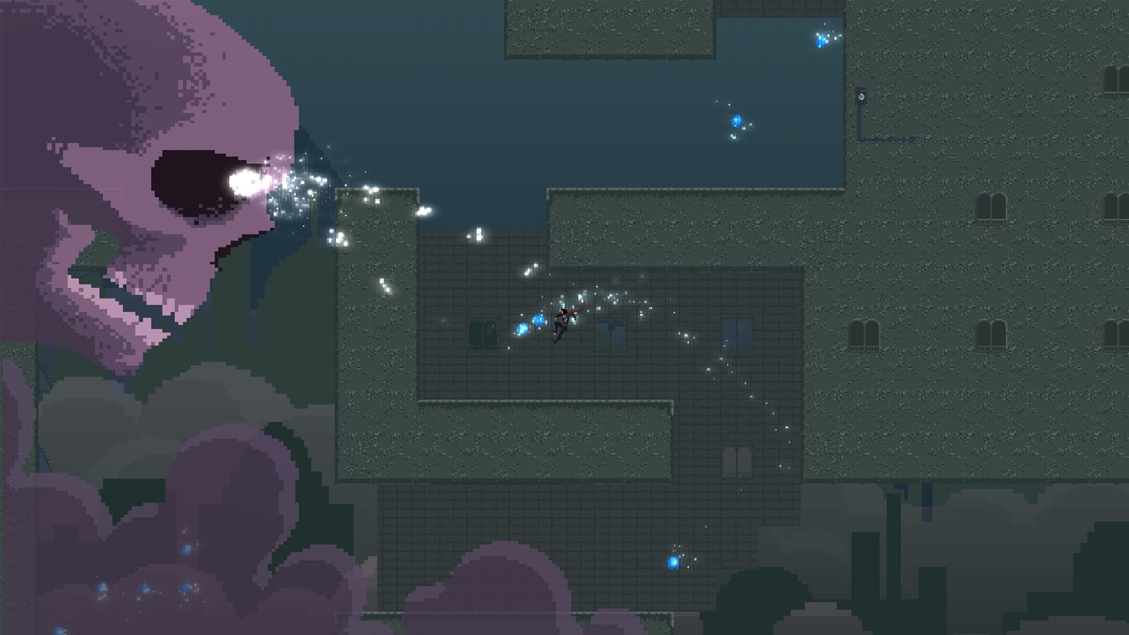 Polaris jumps through an opening in a city building, collecting a star as a skull approaches.