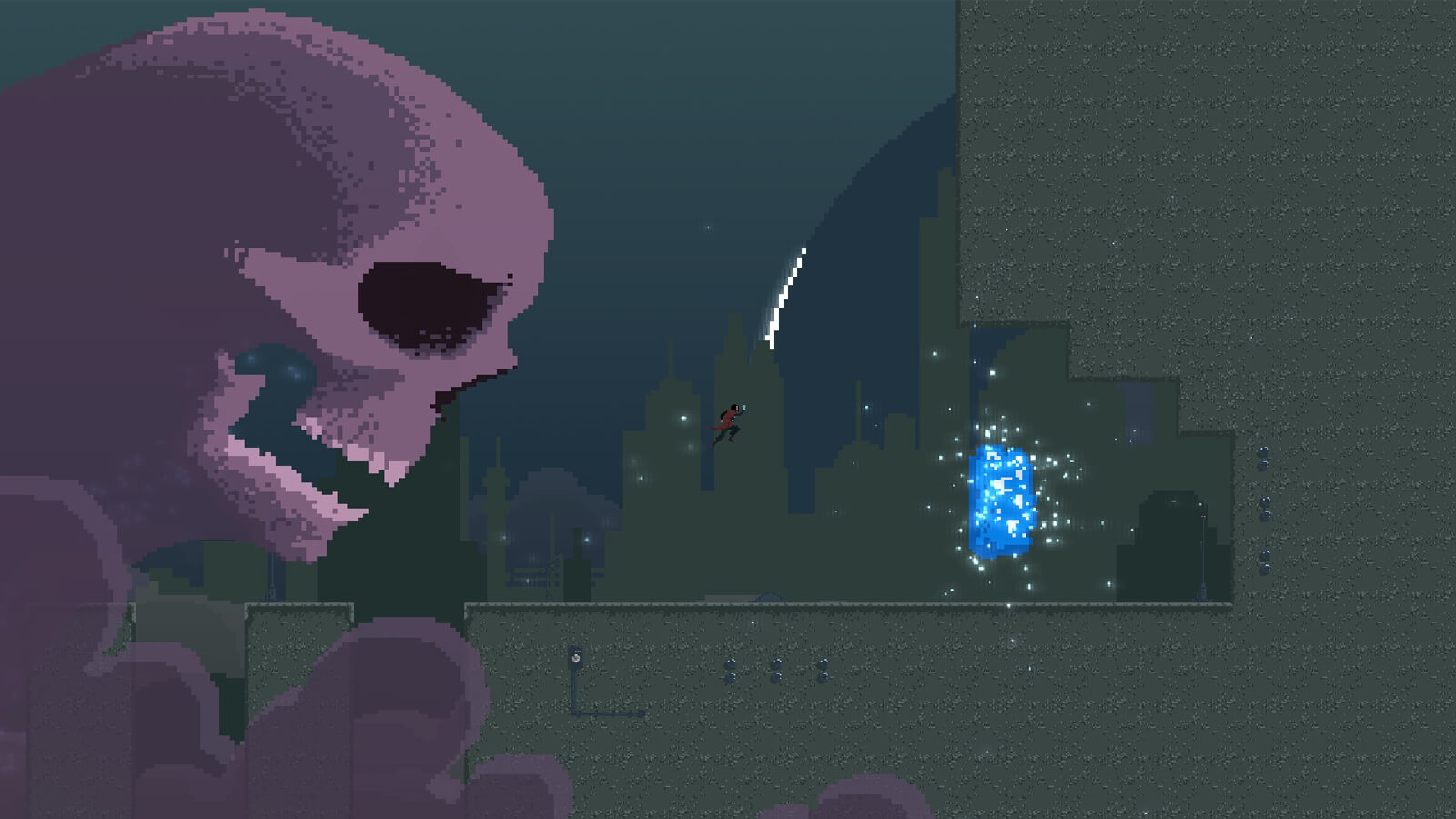 Polaris jumps towards a glistening blue object as a large skull pursues.