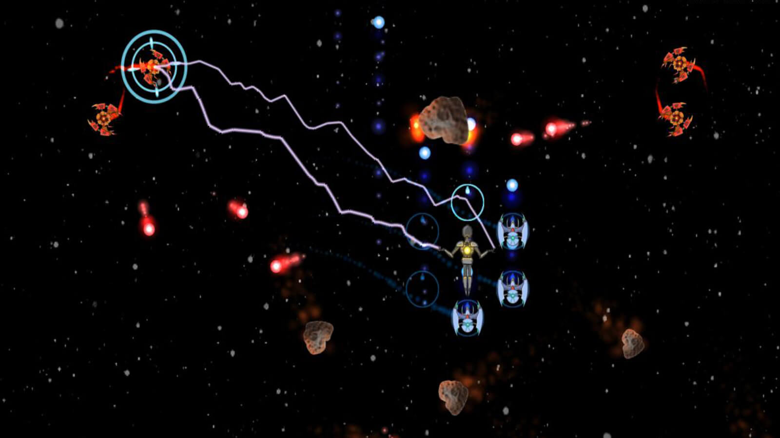 A humanoid controlling three ships zaps a red enemy ship as asteroids float by.