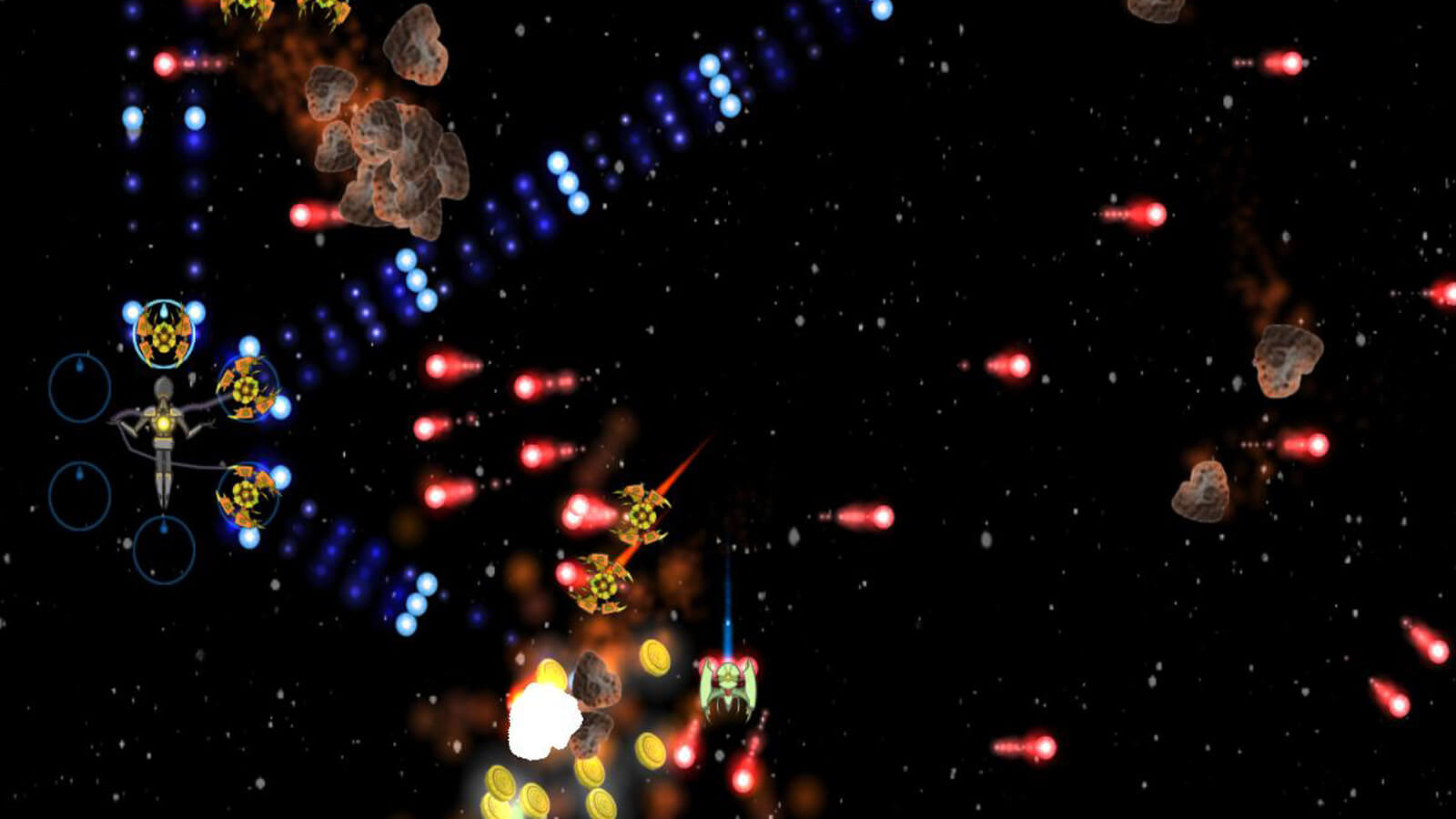 A humanoid controlling three ships shoots at enemy ships with blue beams.