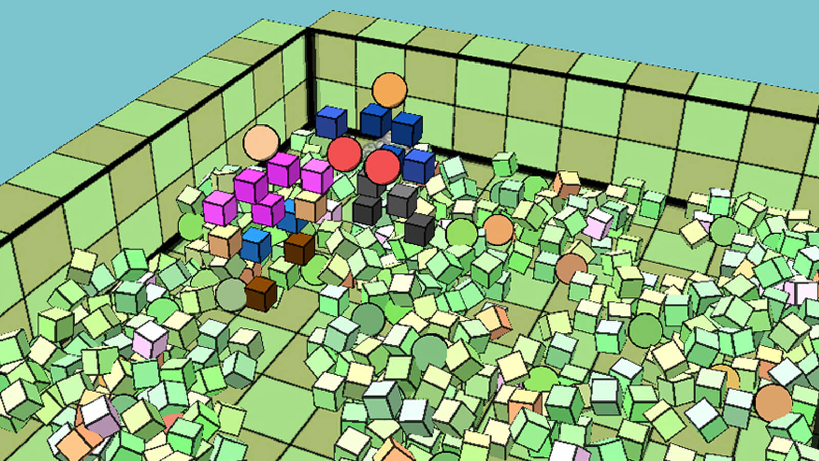 Two geometric people combat each other in a room littered with cubes.