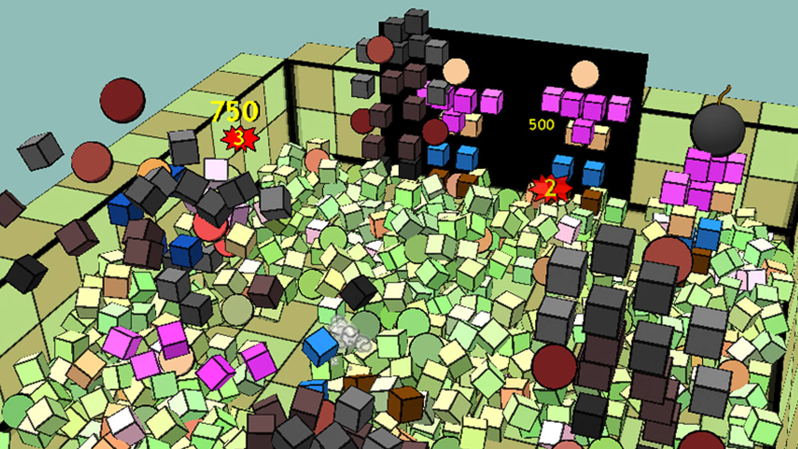 Waves of geometric people smash each other into blocks littering the room.