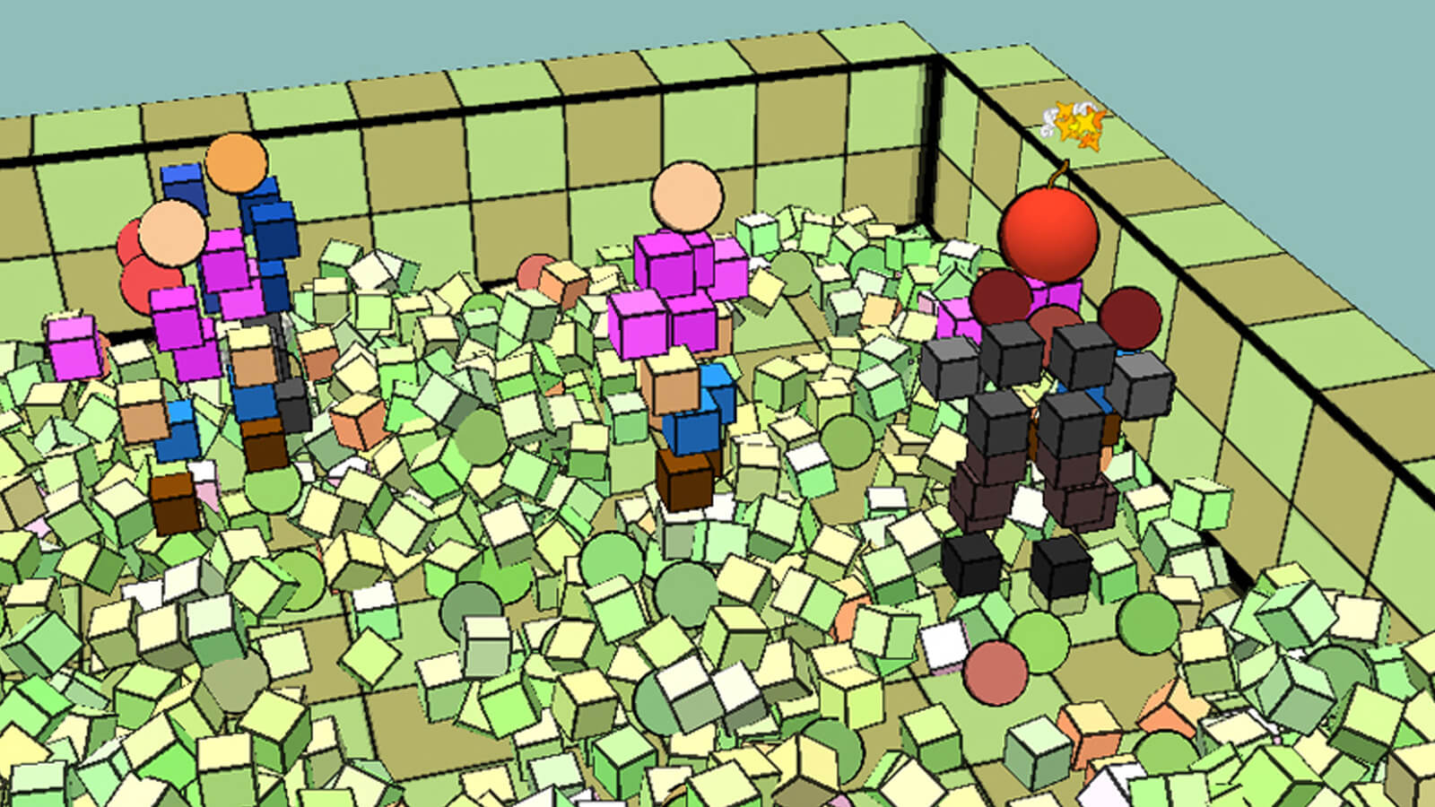 Three geometric people stand in a room littered with cubes.