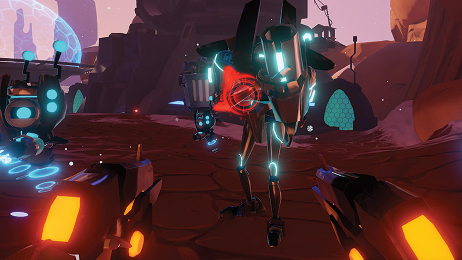 A top-heavy robot with guns for arms approaches the dual-wielding player.
