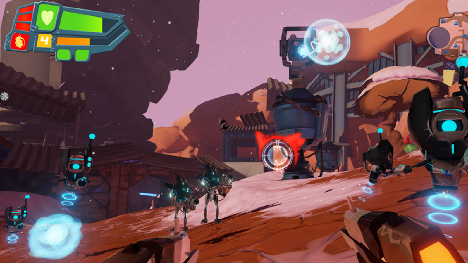 Robots surround the dual-wielding player in a rickety, futuristic landscape.
