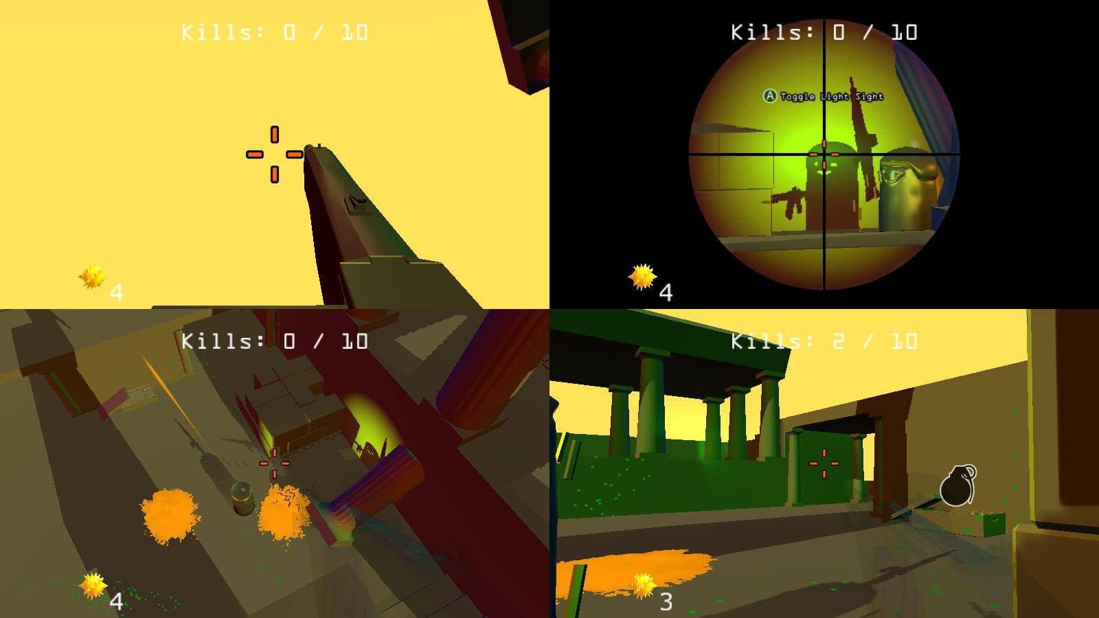 A four player split-screen view, one in the top right sees a player's shadow.