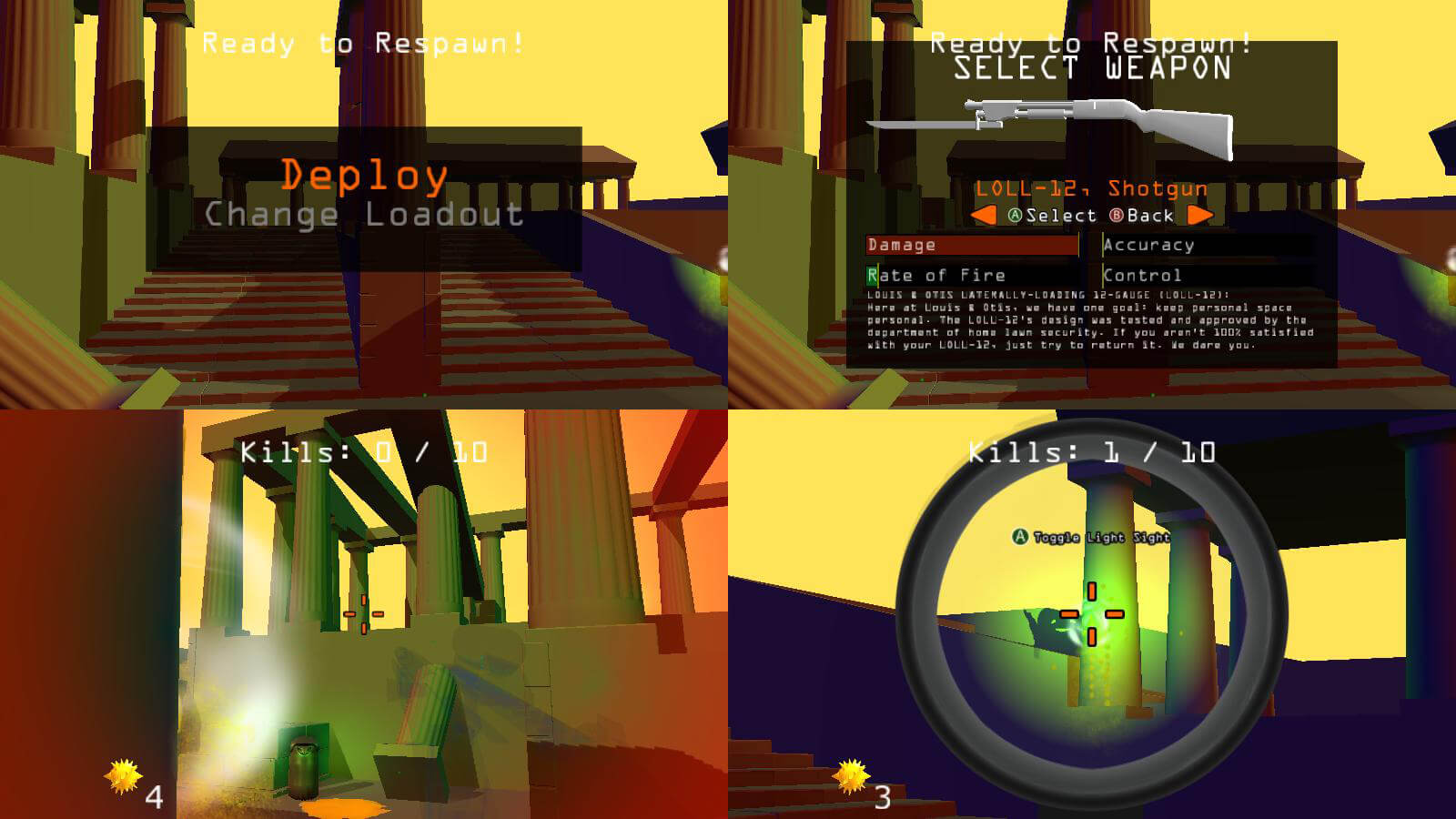 A four-player split-screen view with one player choosing a different weapon.