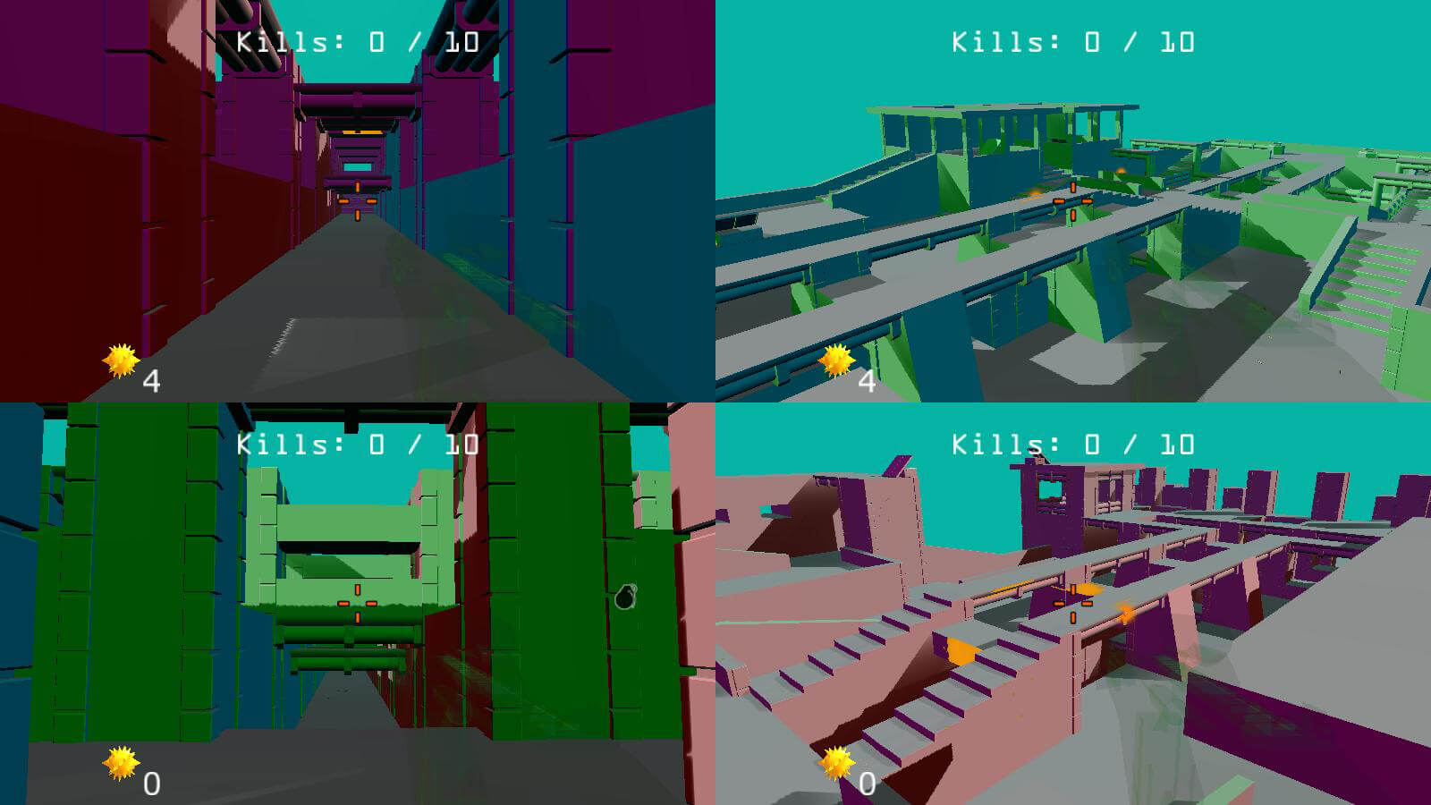 A four-player split-screen view of the abstract game level.