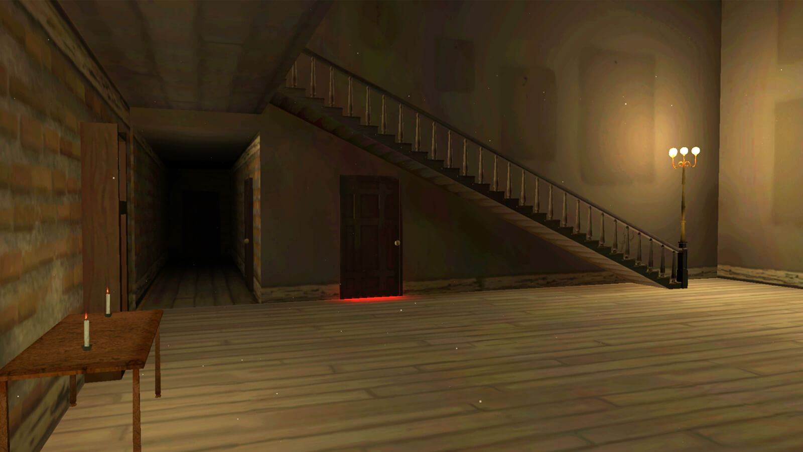 A large empty room with marks where paintings used to hang. Red light emanates from the bottom of a closed door.