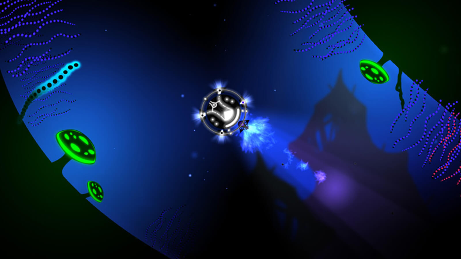 The player's vessel floats through a glowing underwater passage.