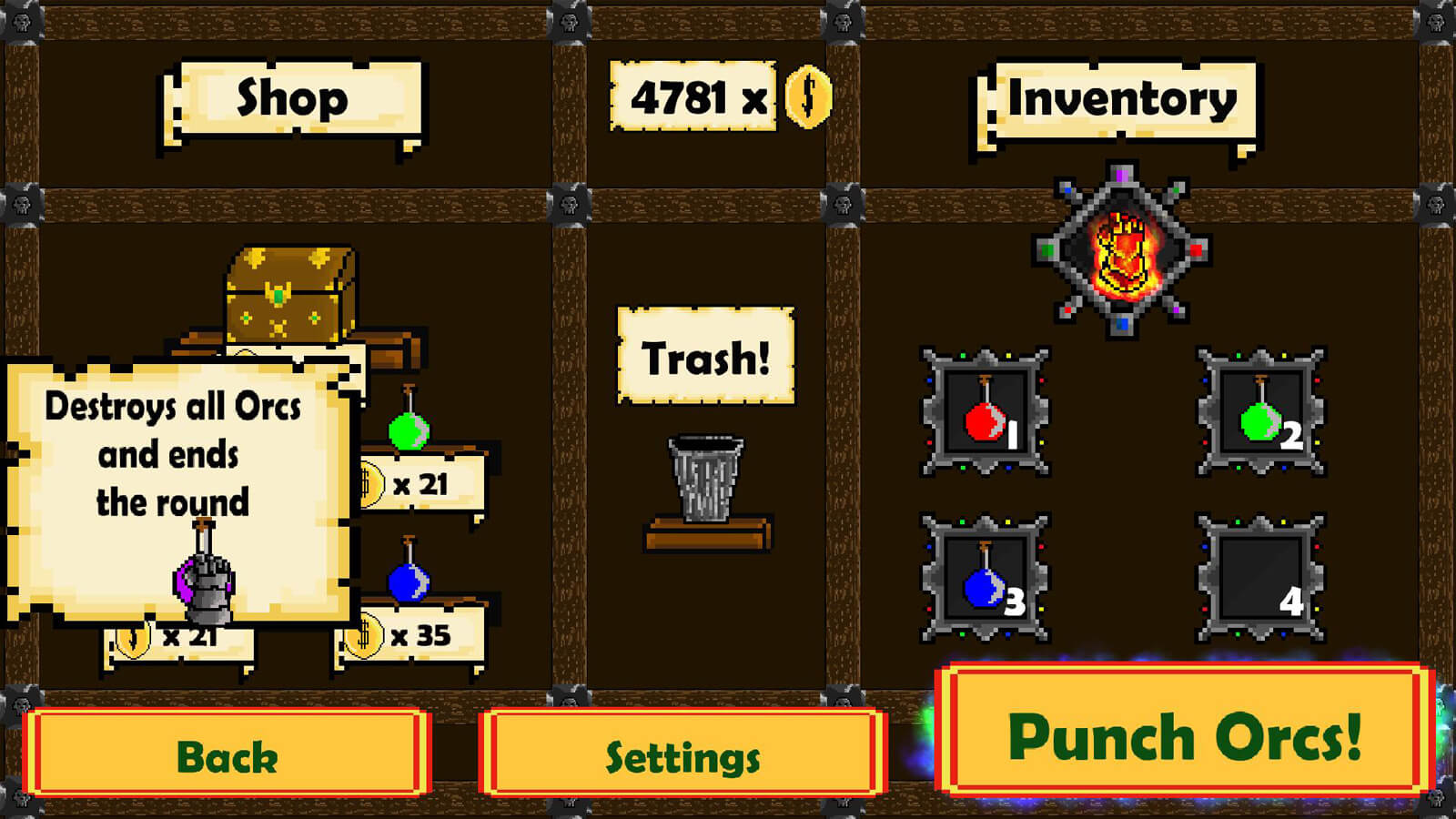 A shop menu where the player can purchase items.