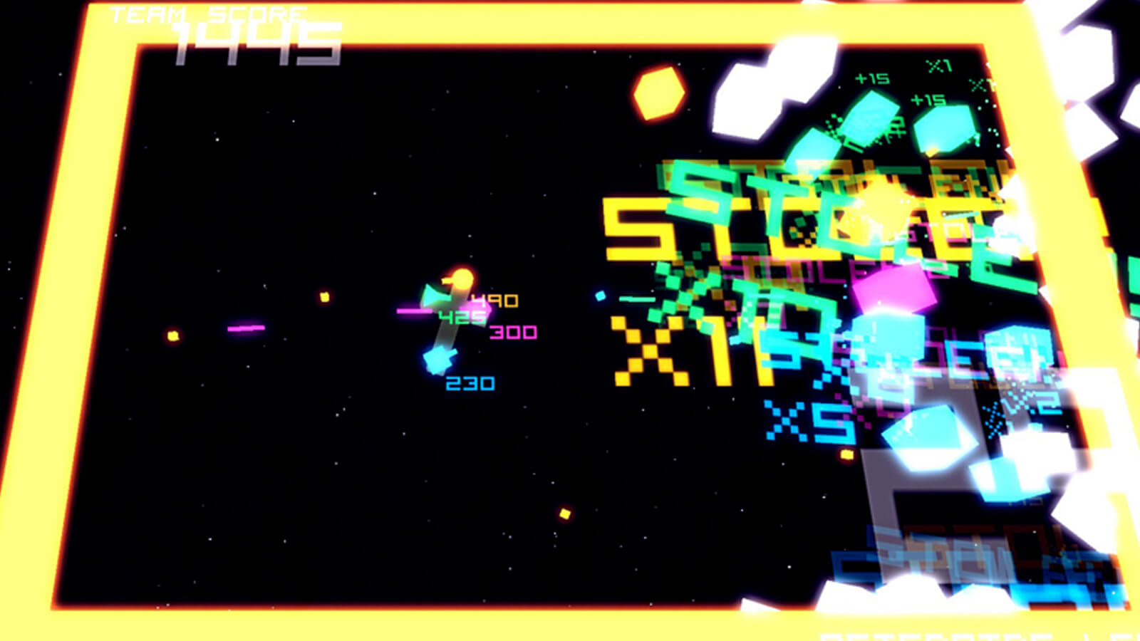 A fleet of glowing cubes approach the players' space ship.