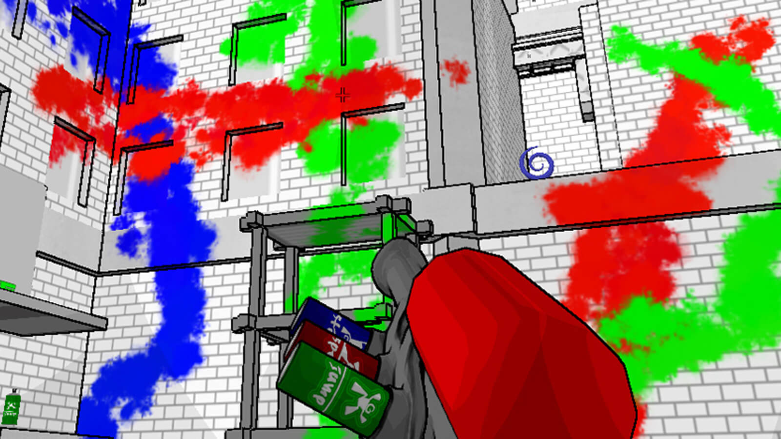 A spray paint gun points at a grey brick building covered in splotches of blue, red and green paint.