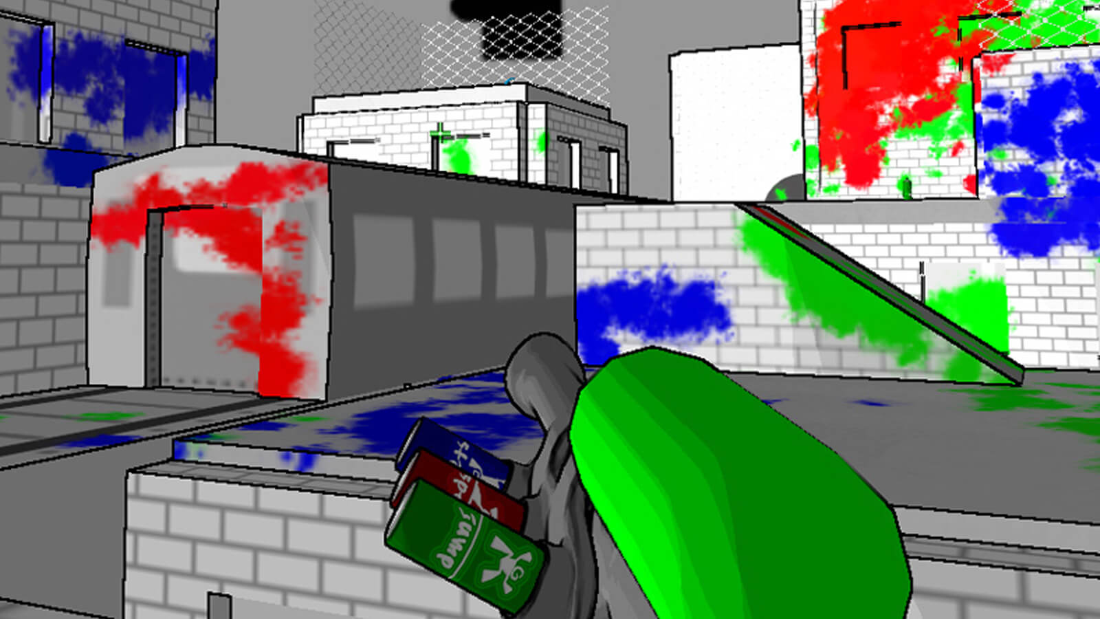 A spray paint gun points at a grey brick building rooftop covered in blue, red and green paint.